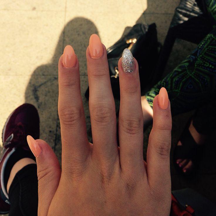 Almond acrylic nails glitter coral