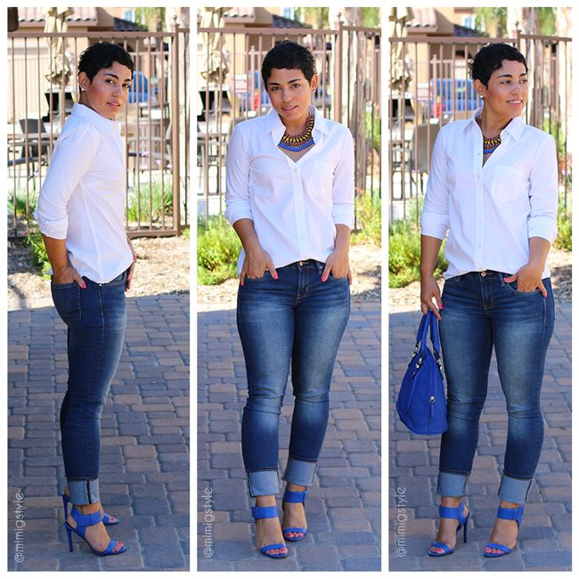 My Fav Cobalt Blue Heels + Jeans |Mimi G Style: DIY Fashion Sewing -  Gap Classic Shirt  / Gap Jeans  / Enzo Angiolini Heels Brodee  / Target Bag / Zara Necklace