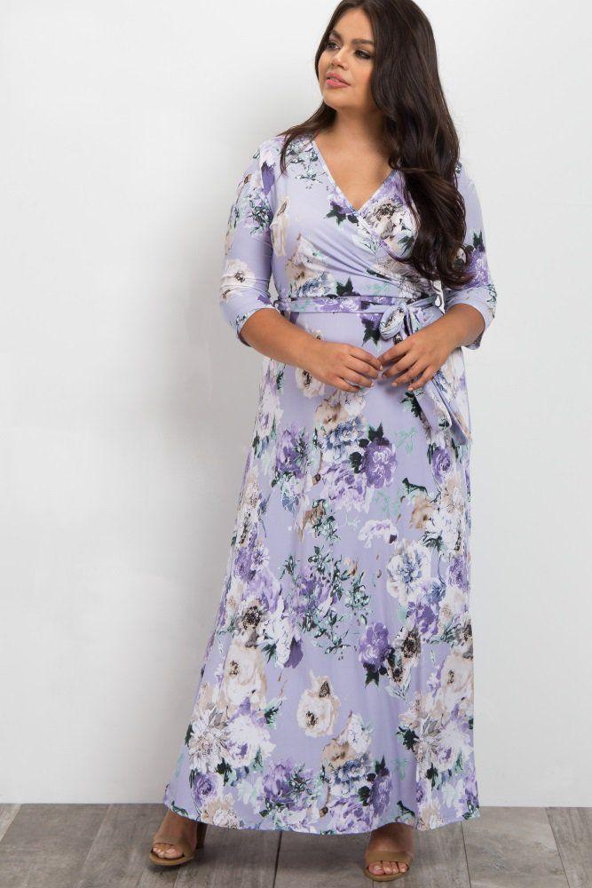 A floral printed plus size maternity maxi dress. V-neckline. Sash tie. 3 4  sleeves. 04181679e