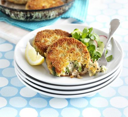 Peppered mackerel fish cakes.  Made these for tea in an emergency and turned out great!