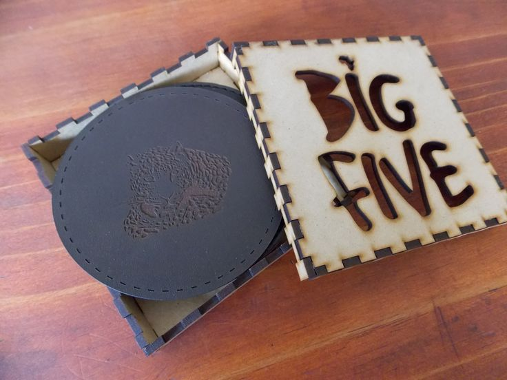 Big Five - Set of 5 Laser Engraved coasters - in gift box.