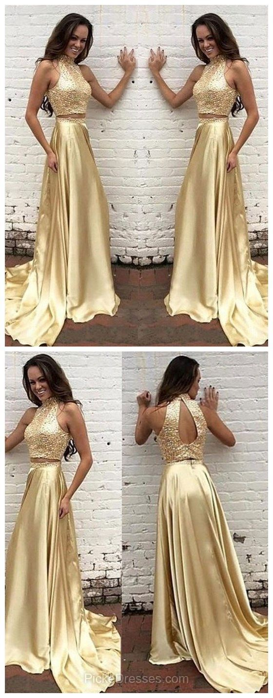 Gold Prom Dresses Two Piece, Long Prom Dresses A-line, High Neck Formal Dresses 2018 Sweep Train Silk-like, Satin with Beading Prom Dresses