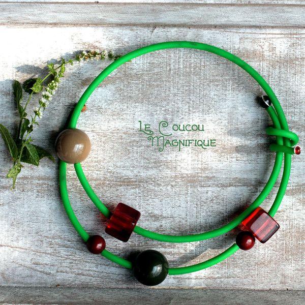 Girocolli rigidi - Girocollo semirigido verde e marrone - un prodotto unico di LeCoucouMagnifique su DaWanda