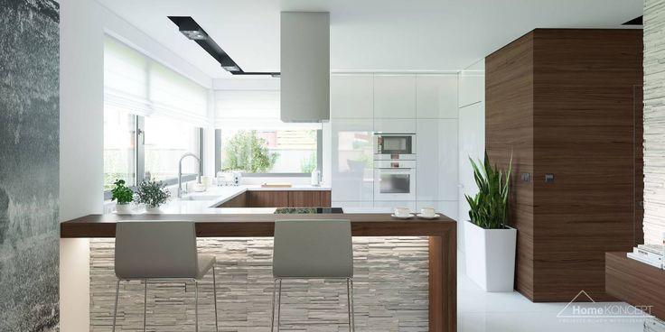 Projekt domu HomeKONCEPT-01- projekty domów z wnętrzami: styl translation missing: pl.style.kuchnia.nowoczesny, w kategorii Kuchnia zaprojektowany przez HomeKONCEPT | Projekty Domów Nowoczesnych