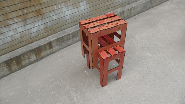 RED MDF Cutting chairs..