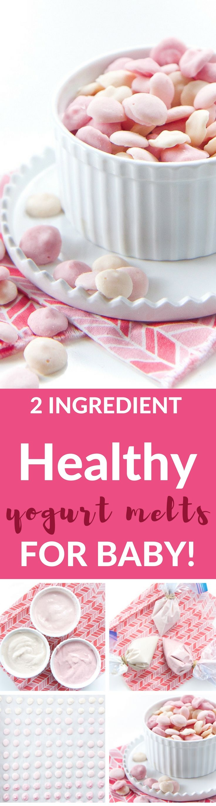 These 2-Ingredients Healthy Yogurt Melts are great for baby (and toddler) as a cold refreshing treat, as a gumming tool to help ease the pain of teething or for a quick yummy snack! Bonus, that each melt is loaded with protein, probiotics and essential vitamins and minerals from colorful fruits and vegetables!