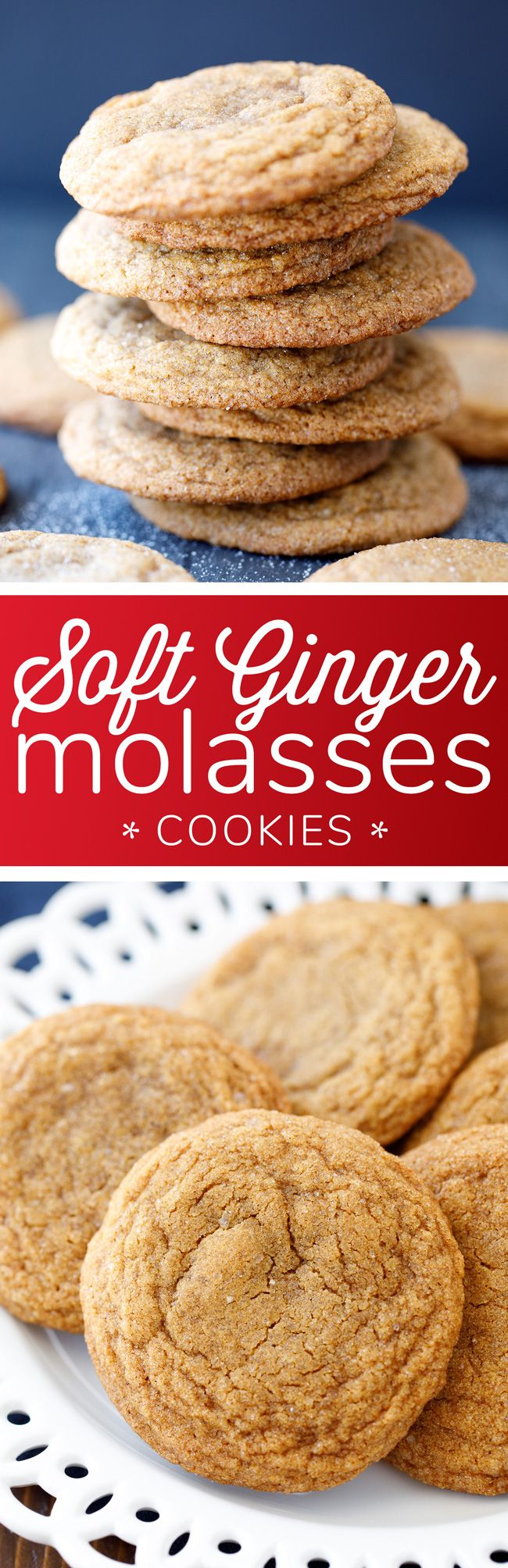 Soft Ginger Molasses Cookies Recipe - These melt-in-your-mouth ginger cookies are big, soft and delicious.
