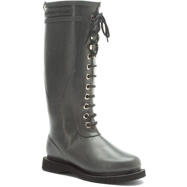 Ilse Jacobsen Women's Rub 1 Boots (179 CAD) ❤ liked on Polyvore featuring shoes, boots, grey, grey boots, fleece lined rain boots, grey rain boots, waterproof wellington boots and waterproof boots