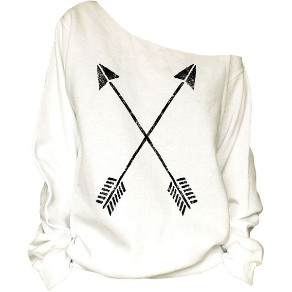 Crossed Arrows Print Oversized Off Shoulder Raw Edge Sweatshirt-87 ($29) ❤ liked on Polyvore featuring tops, hoodies, sweatshirts, shirts, sweaters, sweatshirt, black, women's clothing, print shirts ve black off the shoulder shirt