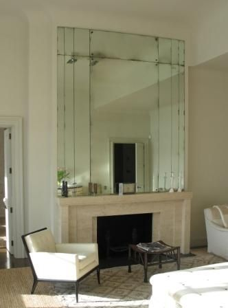 Antiqued Mirror Glass and art deco  fireplace                                                                                                                                                      More