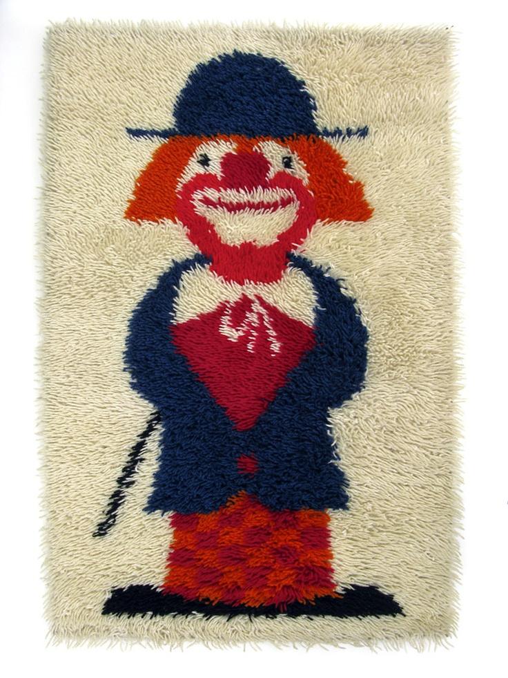 Vintage Clown Rya Shag Rug