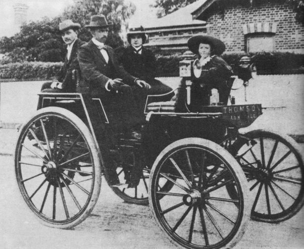 Thomson Motor Phaeton in 1900. Designed and built by Herbert Thomson and his cousin Edward Holmes in Armadale Victoria. They took the car to Sydney by boat for the 1900 Sydney Royal Easter Show and drove to Bathurst to the local show and then back to Melbourne on what passed for the roads of the day, getting frequently bogged. Trip took 10 days at 8.72 mph for the circa 500 mile journey. Steam powered, 12 built, 1 exists today in the Museum of Victoria