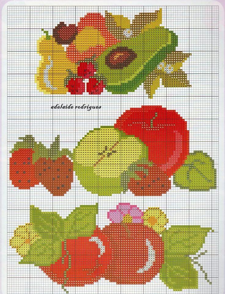 Bom Dia !!!     Que a nossa semana seja abençoada,..   Amigas, que tal uns gráficos de frutas para nossos panos de copa,   frutas se...