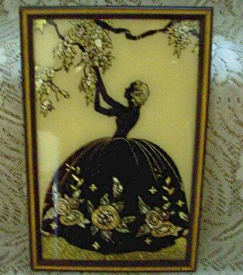 Vintage Foil Painting Silhouette On Glass Blossom Time