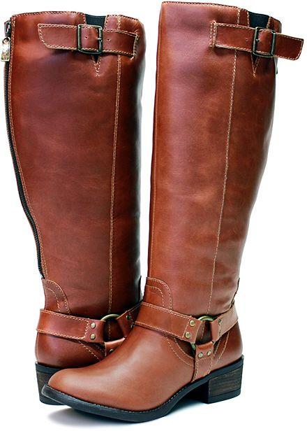 Cognac Alamo Extra Wide-Calf Leather Boot