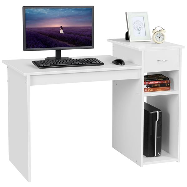 Smilemart Computer Desk Laptop Study Table With Drawer Home Office Workstation White Walmart Com In 2020 White Office Furniture Home Office Furniture Desk