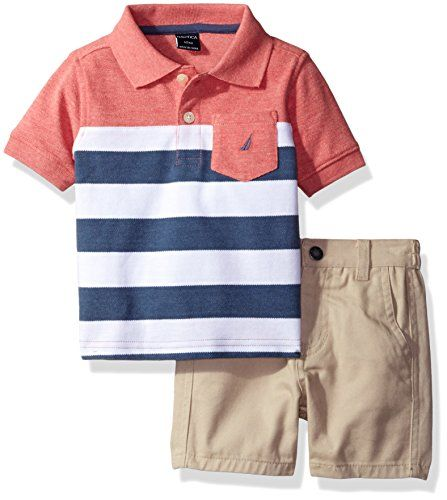 Nautica Boys' Pieced Polo Shirt with Solid Flat Front Short Set, Coral, 24 Months Baby Boy Clothes Check more at https://www.newbornbabystuff.com/nautica-boys-pieced-polo-shirt-with-solid-flat-front-short-set-coral-24-months-baby-boy-clothes/