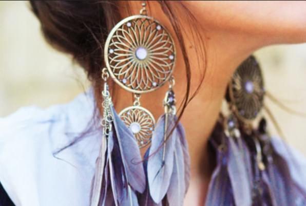 best feather earrings metal for women