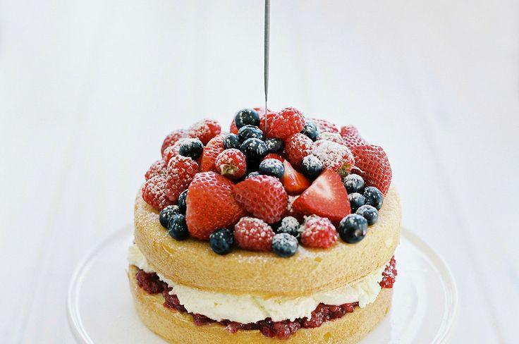 Victoria Sponge with Mascarpone Cream, Berry Jam and Fresh Berries