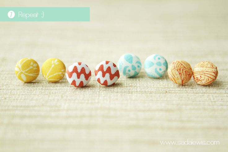 Fabric button earings