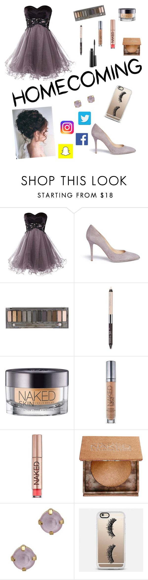 """""""Cause hoco is in like 2 weeks. 》》"""" by dailydaisy1 ❤ liked on Polyvore featuring Rene, Urban Decay, John & Pearl, Casetify and MAC Cosmetics"""