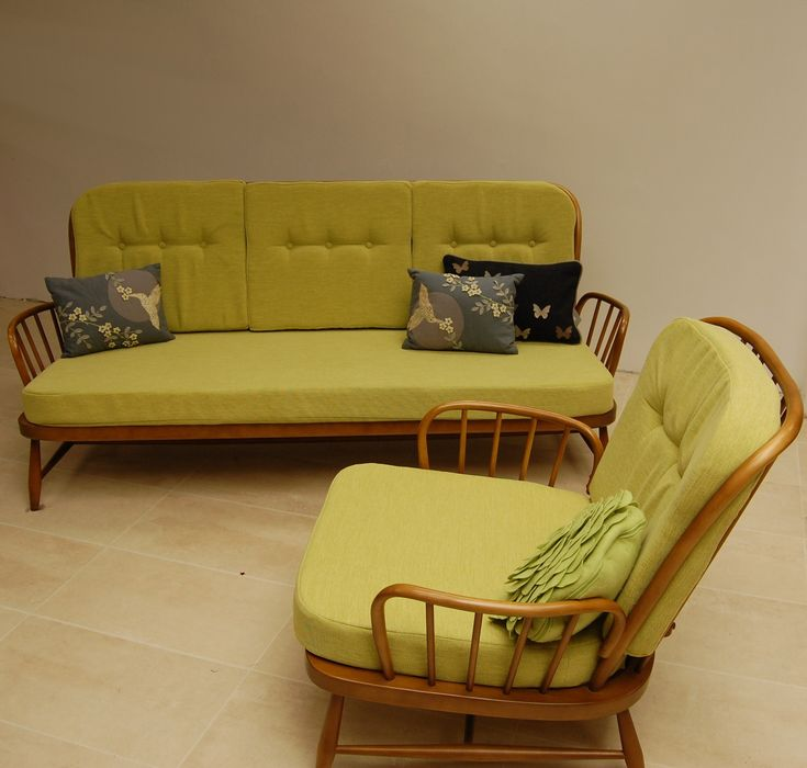 Ercol 1970s solid beech 2m sofa long daybed like green for Long couches for sale