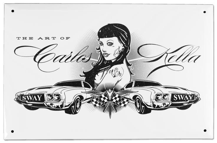 Das Carlos Kella Blechschild mit dem Artwork von Steve Santana. / Maße: 30 cm x 21 cm (B/H) / Material: Blech, weiß lackiert mit schwarzem Aufdruck / Preis: 19,90 Euro (inklusive MwSt., zuzügl. Versandkosten) >> Pimp up your garage: http://sway-books.de/non-books/fanartikel.html