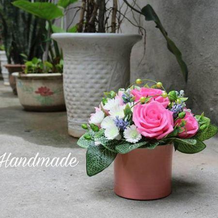 Hướng dẫn làm hoa hồng giấy nhún