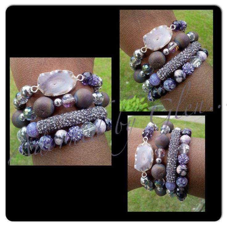 Uniquely designed stacked bracelet set.  Bling bracelets, gemstone bracelets, druzy, purple, armcandy, arm candy, bracelets, jewelry, handmade, beaded bracelet, beads