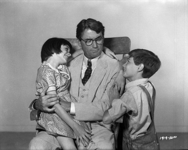 Gregory Peck, Mary Badham, and Phillip Alford in To Kill a Mockingbird (1962)