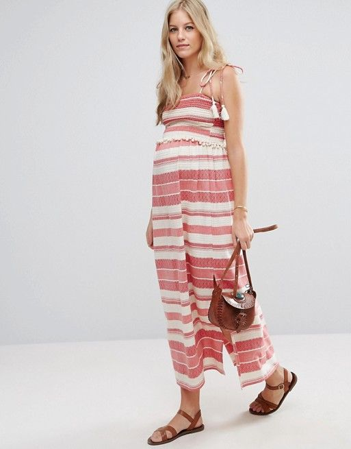 ASOS Maternity Stripe Maxi Dress with Pom Pom and Shirring Detail