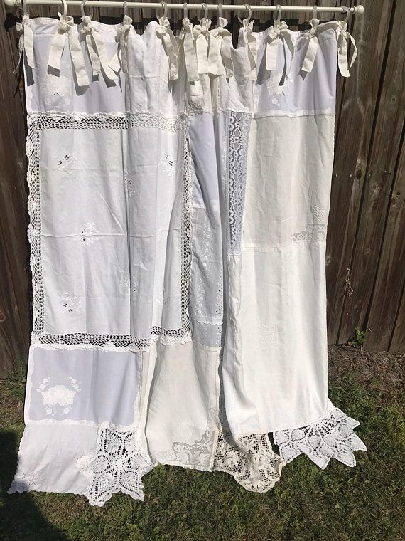 Shabby Chic Shower Curtain White And Creams Vintage Crochet