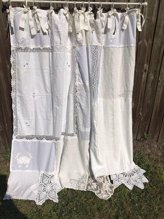 shabby french chic shower curtain white