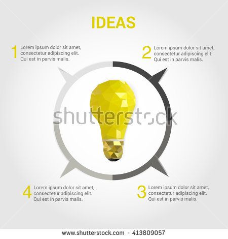 Light Bulb Infographic Design Polygonal Style. Low Poly