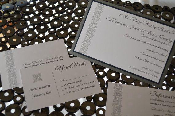 Dara Knot Shimmer Wedding Invitation Set by invitesbythisandthat