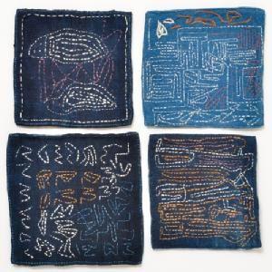 ラオス H.P.E. レンテン族の刺繍コースター(豆敷き)