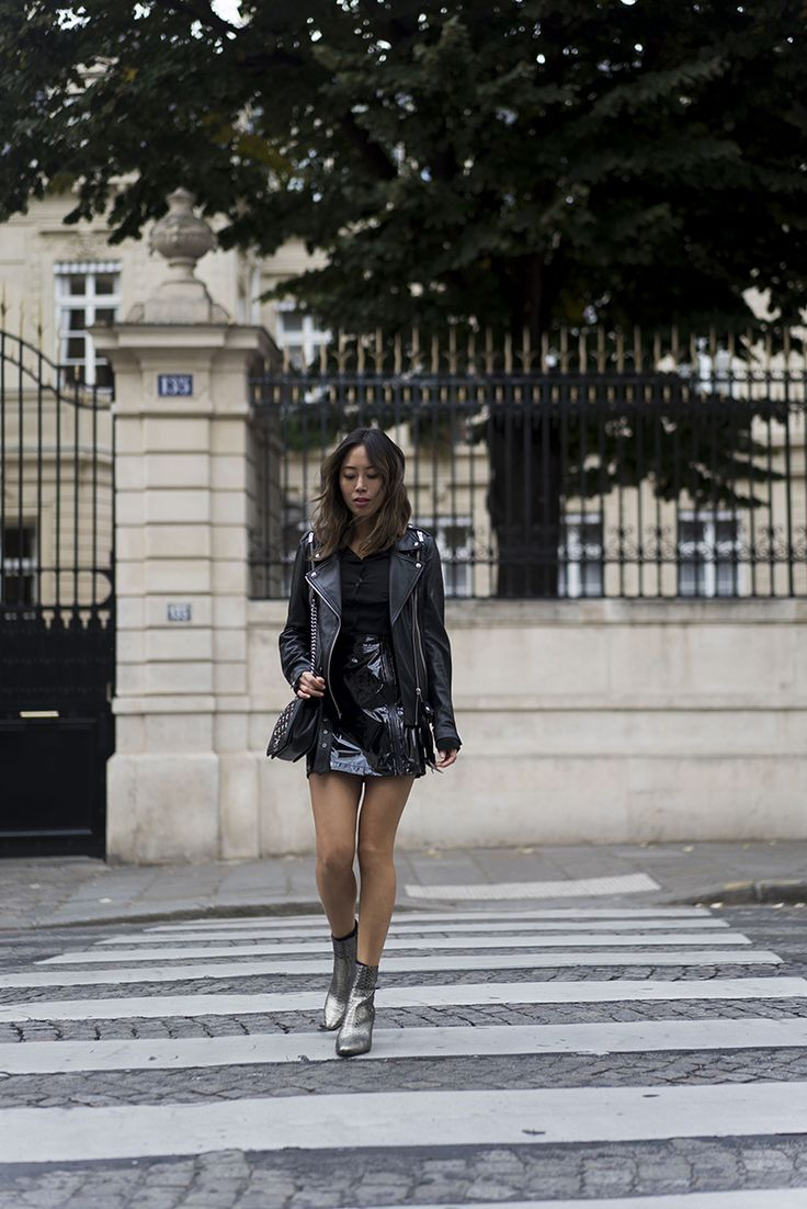 Aimee Song Of Style Paris Fashion Week Ash Jacket Ash Leather Boots Ash Leather Skirt Style