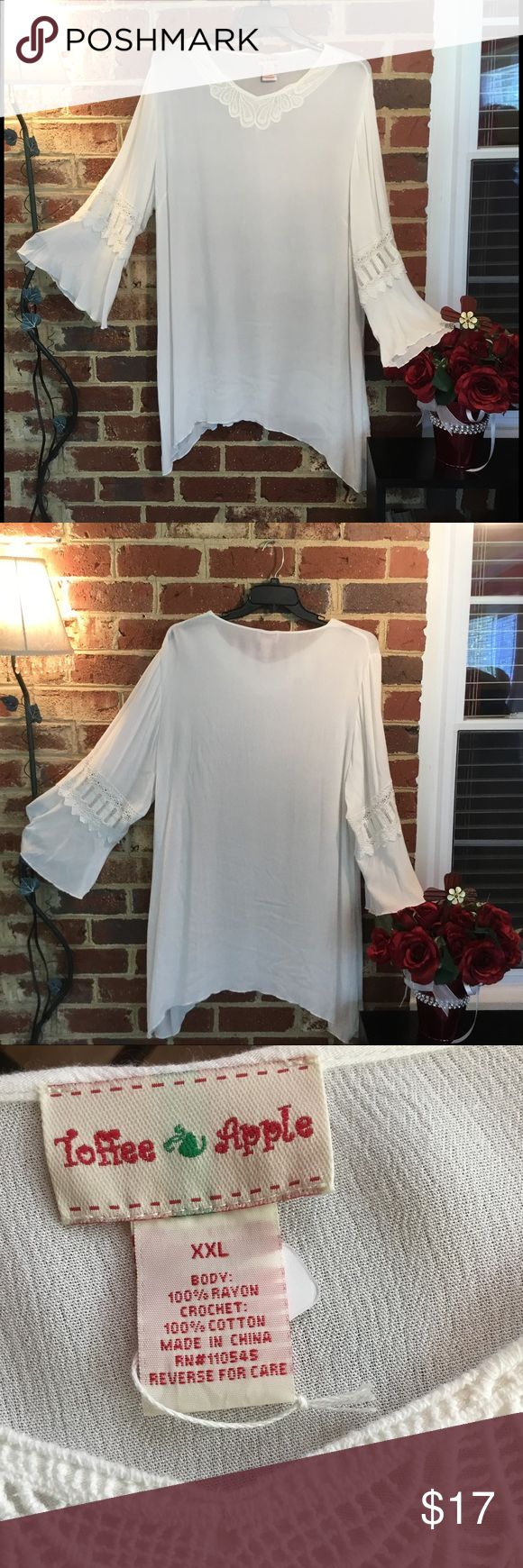 XXL Quality Shark Bite Top with Gorgeous Sleeves This is a beautiful shark bite top with fashionable sleeves.  New, never worn from Cracker Barrell Toffee Apple Tops