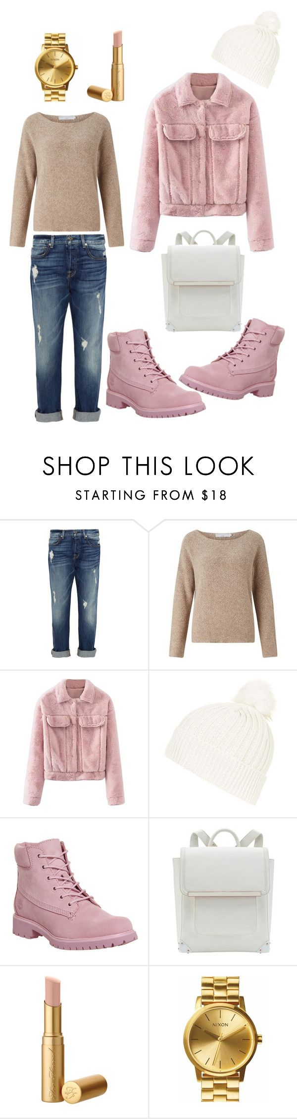 """""""cuffed jeans and faux fur jacket"""" by anichch ❤ liked on Polyvore featuring 7 For All Mankind, John Lewis, WithChic, Topshop, Timberland, Nixon, boyfriend, timberland, cuffedjeans and cuffed"""