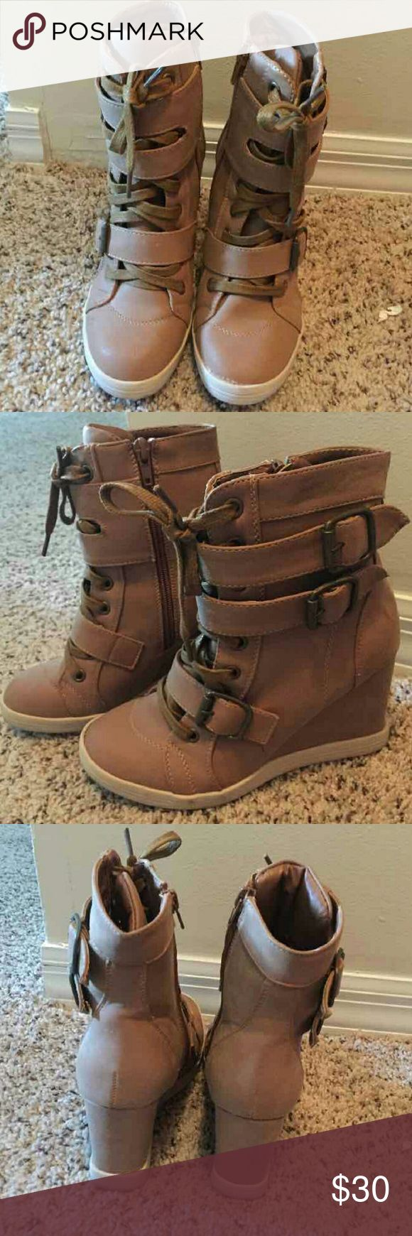 EVERYTHING MUST GO SALE!!! Fashion Wedge Sneakers Camel in color...very comfortable...only worn once Shoes Sneakers