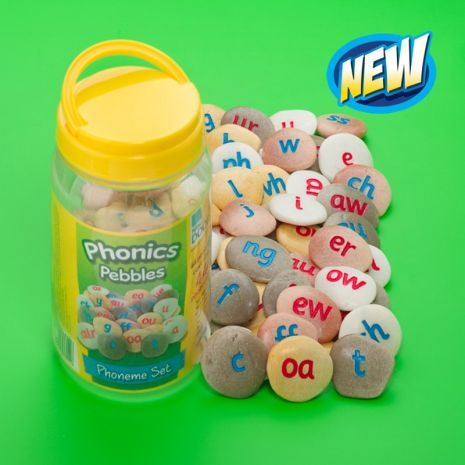 Phonic Pebbles: A tactile set of pebbles ideal for introducing early years and KS1 children to letters and sounds. Each set includes Teacher's notes. Cast from a resin and stone mix, phonics pebbles are ideal for indoor or outdoor phonics activities.
