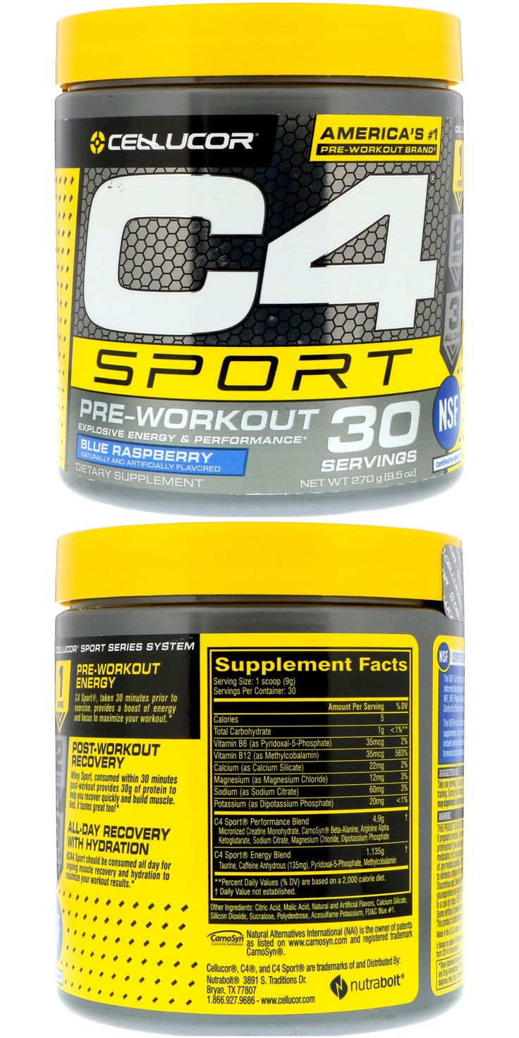 C4 Sport, PreWorkout, Blue Raspberry, 9.5 oz (270 g) in