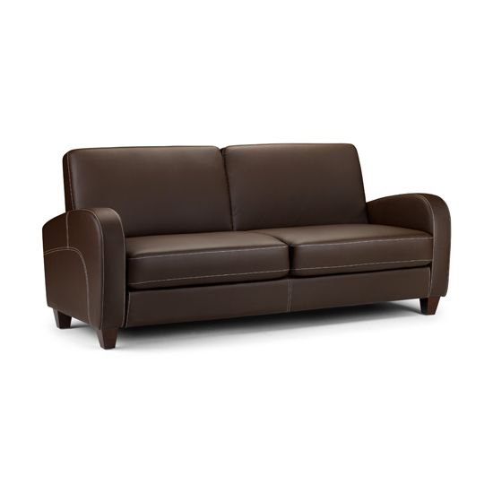 Leather Sectional Sofa Vivo Seater Sofa in Chestnut Faux Leather