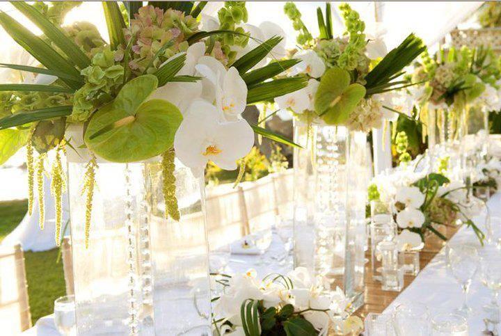 white & green tropical centerpiece