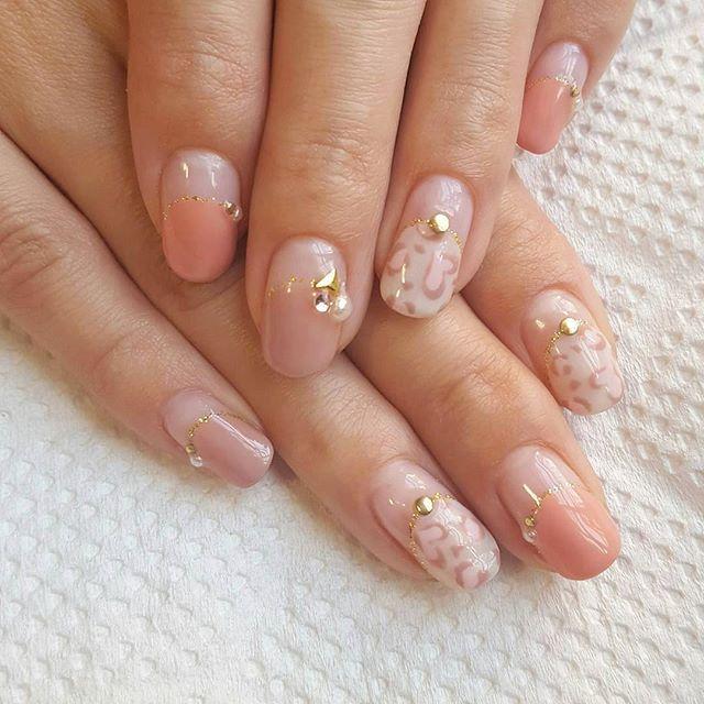 ハートのレオパード 使用ジェル グレースガーデン プリティカラージェル (ウォームホワイト・イングリッシュローズ・ベビーピンク・ベージュピンク)  nailnails