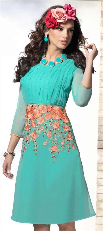 #kurti #Pastel #SkyBlue #Floral #Flowers #Dress #tunic #Partywear #springsummer2015 #Onlineshopping