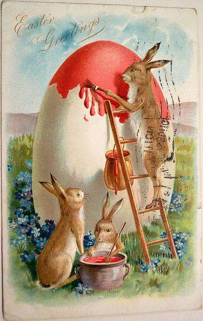 Vintage Easter Postcard- Bunnies painting Egg