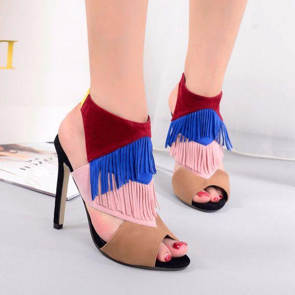 Beautiful Fringe Peep Toe Open Ankle Heels