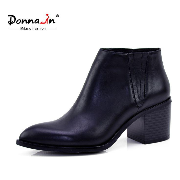 Donna in 2016 voorjaar enkele laarzen puntschoen dikke hak enkellaars dames korte laarzen vrouwen lederen laarzen in   van Enkellaarsjes op AliExpress.com | Alibaba Groep