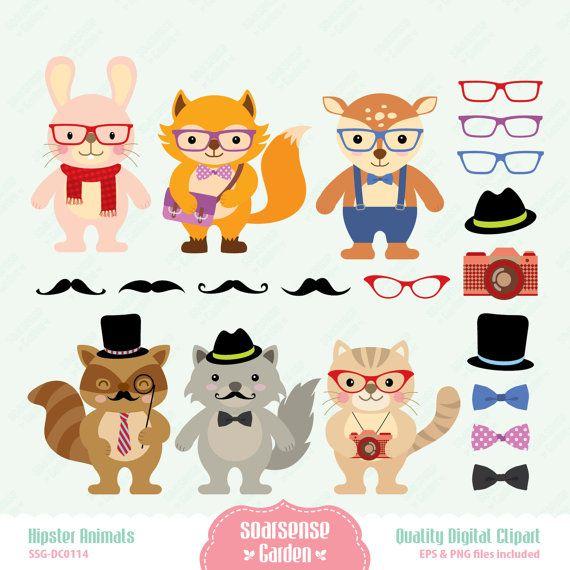 Hipster Animals Digital Clipart, Cute Animals Clip Art